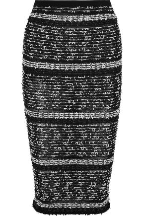 ROLAND MOURET Gunby metallic bouclé and ribbed-knit pencil skirt
