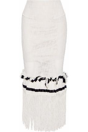 ROLAND MOURET Harlthorpe fringed cady-paneled cotton-blend maxi skirt