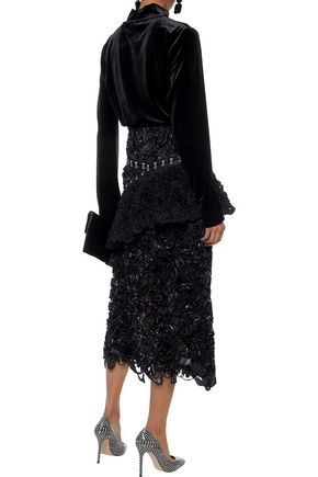 PROENZA SCHOULER Embroidered shell and tulle peplum midi skirt