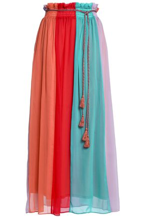 ANTIK BATIK Tasseled color-block chiffon maxi skirt