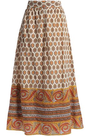 ANTIK BATIK Soleil printed cotton midi skirt