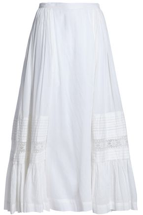 ANTIK BATIK Lace-trimmed cotton midi skirt