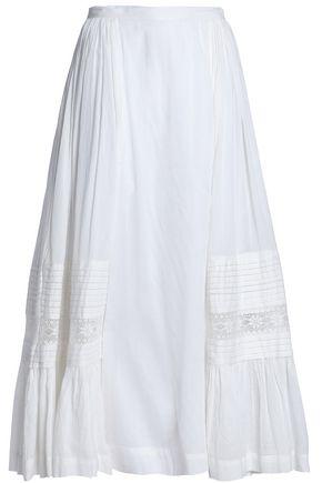 ANTIK BATIK Lace-trimmed cotton midi skirt