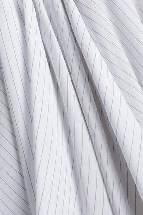 CHALAYAN Asymmetric pinstriped cotton-poplin mini skirt