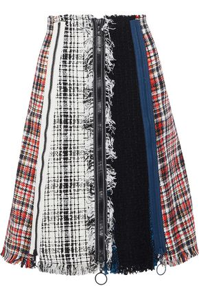 SONIA RYKIEL Fringed bouclé-paneled tweed skirt