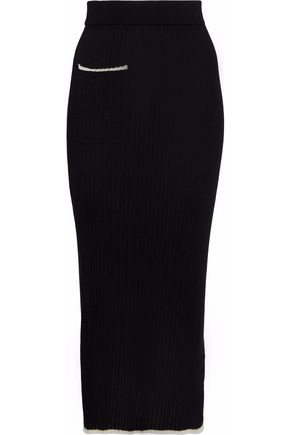 N.PEAL Ribbed cashmere and silk-blend midi skirt