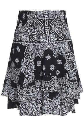 A.L.C. Printed smocked silk-crepe mini skirt