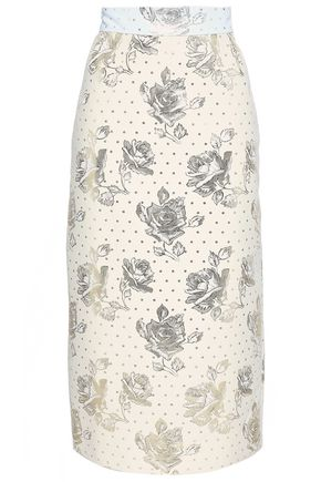 EMILIA WICKSTEAD Metallic jacquard midi skirt