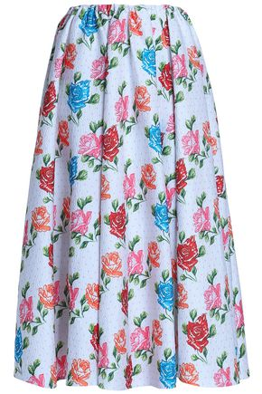 EMILIA WICKSTEAD Pleated printed cloqué midi skirt