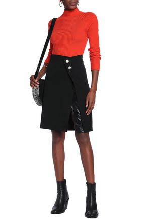 PACO RABANNE Faux leather-trimmed wool skirt