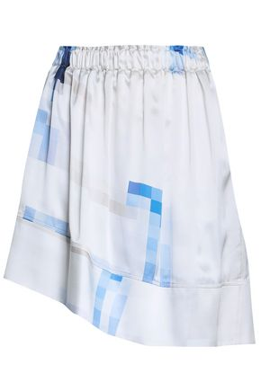 PACO RABANNE Asymmetric printed silk-satin mini skirt