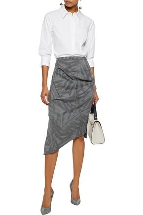 MICHAEL KORS COLLECTION Asymmetric printed stretch-wool skirt