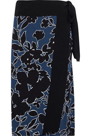MICHAEL KORS COLLECTION Floral-print silk-crepe wrap skirt