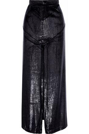 MICHAEL LO SORDO Split-front metallic velvet maxi skirt