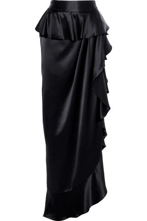 MICHAEL LO SORDO Asymmetric ruffled silk-satin maxi skirt