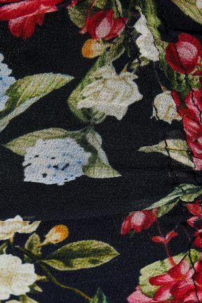 NICHOLAS Asymmetric floral-print silk-chiffon midi skirt