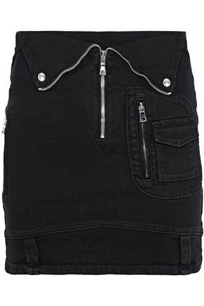 RTA Gisele zip-detailed denim mini skirt