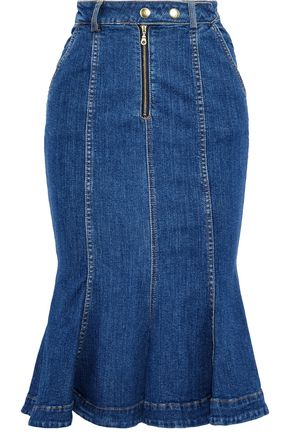 NICHOLAS Fluted denim skirt