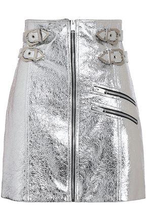 VERSUS VERSACE Embellished metallic cracked-leather mini skirt