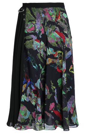 VERSUS VERSACE Embellished printed georgette midi skirt
