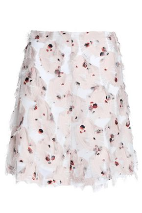 SEE BY CHLOE | See By Chloé Woman Floral-print Fil Coupé Organza Skirt Pastel Pink | Goxip
