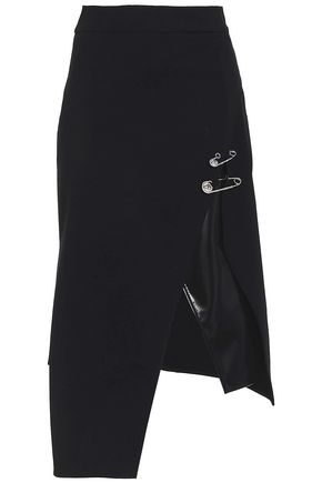 VERSUS VERSACE Wrap-effect embellished vinyl-paneled stretch-jersey skirt