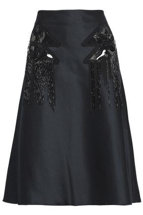 VERSUS VERSACE Fluted embellished duchesse satin skirt