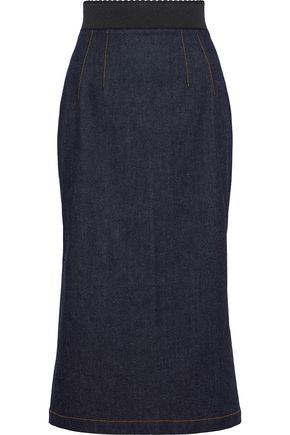 DOLCE & GABBANA Fluted denim pencil skirt