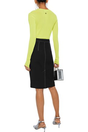 DIANE VON FURSTENBERG Zip-detailed stretch-knit pencil skirt