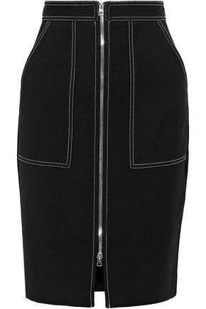 DIANE VON FURSTENBERG Zip-detailed stretch-knit pencil skirt
