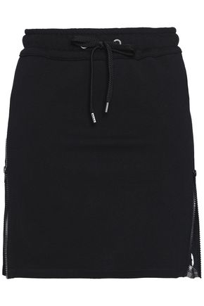 VERSUS VERSACE Zip-detailed printed French cotton-terry mini skirt