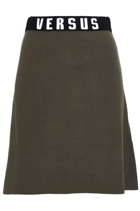 VERSUS VERSACE Jacquard knit-trimmed stretch-knit mini skirt