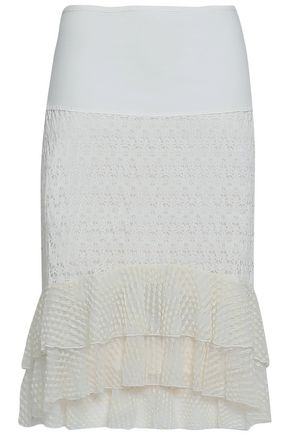 SEE BY CHLOE | See By Chloé Woman Paneled Crocheted Cotton Skirt Off-white | Goxip