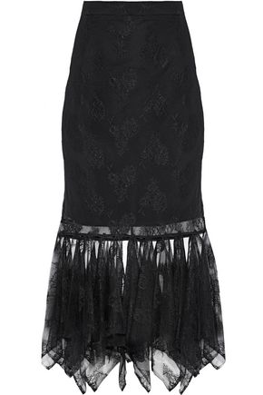 CHRISTOPHER KANE Appliquéd Chantilly lace midi skirt