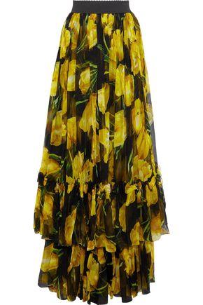 DOLCE & GABBANA Tiered printed silk-chiffon maxi skirt