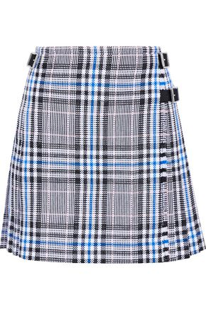 CHRISTOPHER KANE Pleated checked cotton-blend jacquard mini skirt