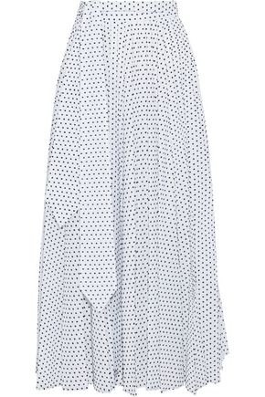 CHRISTOPHER KANE Pleated flocked cotton-poplin midi skirt