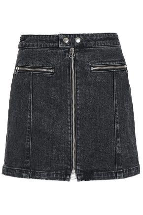 RAG & BONE Zip-detailed denim mini skirt