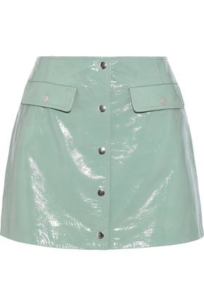 METEO by YVES SALOMON Patent-leather mini skirt