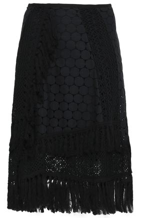 SEE BY CHLOÉ Fringe-trimmed crocheted skirt