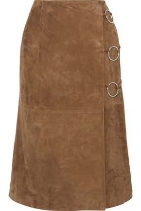 YVES SALOMON Wrap-effect ring-embellished suede skirt