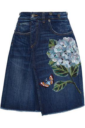 DOLCE & GABBANA Appliquéd denim mini skirt