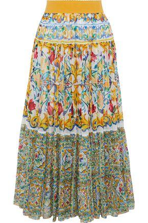 DOLCE & GABBANA Printed cotton and silk-blend midi skirt