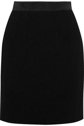 DOLCE & GABBANA Satin-trimmed wool-blend mini pencil skirt