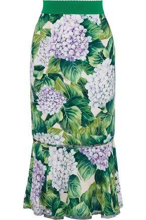 DOLCE & GABBANA Silk organza-trimmed floral-print crepe de chine midi skirt