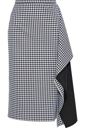 TIBI Ruffled woven-paneled gingham twill skirt