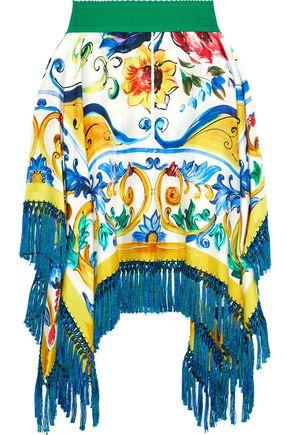 DOLCE & GABBANA Fringe-trimmed printed silk-blend twill mini skirt