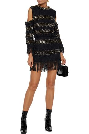 BALMAIN Fringed leather and chain-trimmed metallic tweed mini skirt