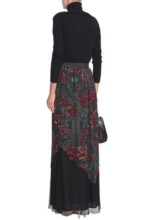 JUST CAVALLI Point d'esprit-paneled floral-print georgette maxi skirt