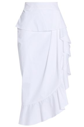 MICHAEL LO SORDO Ruffled cotton-poplin skirt